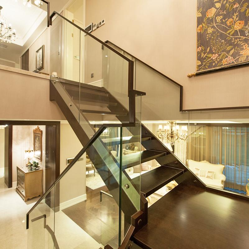 楼尚公馆钢木玻璃现代楼梯2015111701