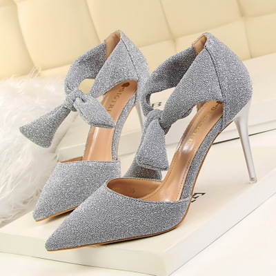 923-3 han edition sexy show thin club party shoes high heel with shallow mouth pointed hollow out sandals bow