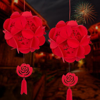创意福字花球灯笼新年装饰品挂饰挂件 结婚喜字拉花绣球婚庆用品