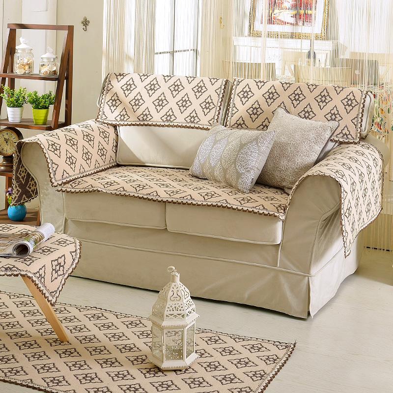 蓝松鼠棉线提花沙发垫sfd001