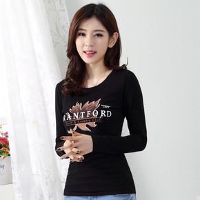 2017新款韩版春秋女装大码长袖T恤女士上衣服纯棉修身显瘦打底衫