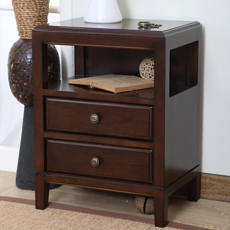 实木床头柜简约欧式美式乡村卧室边角柜储物柜环保水性漆熙和家具