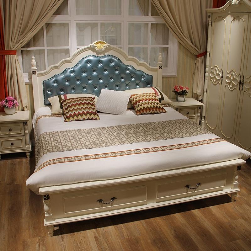 美式实木床1.5m1.8米儿童床女孩公主床欧式床现代简约双人简欧床