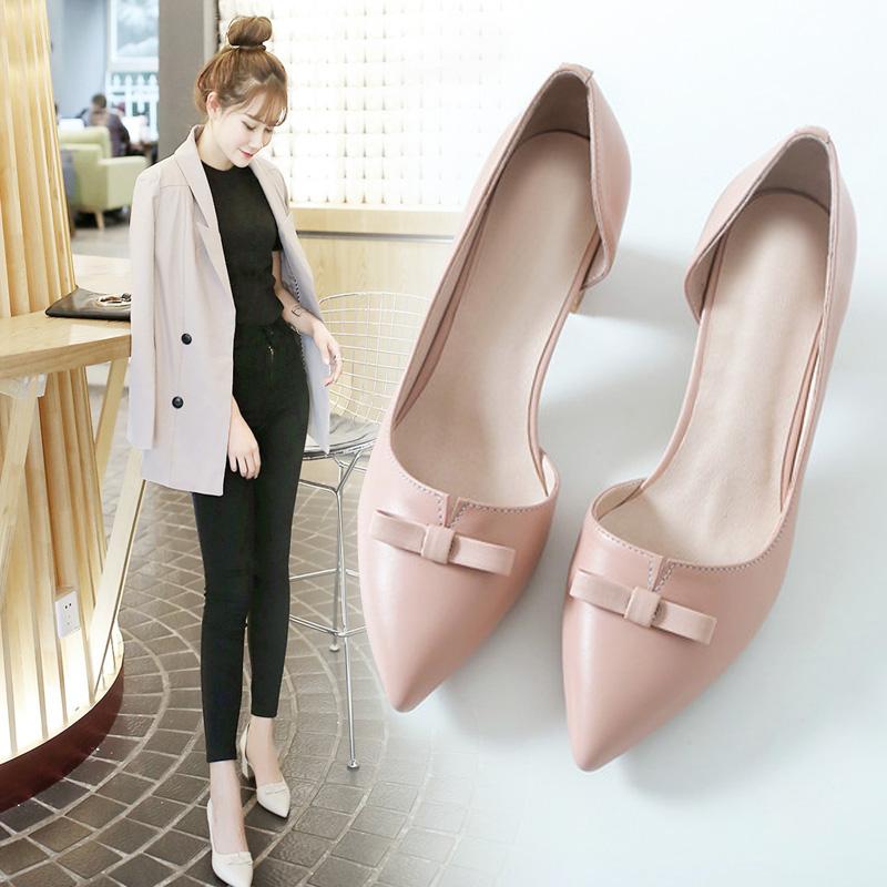 韩版高跟鞋春季2018新款女鞋百搭粗跟尖头皮鞋粉色时尚小码33单鞋