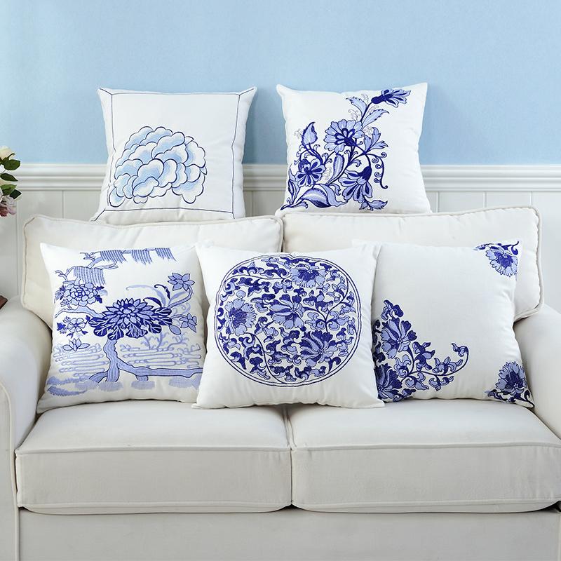 欧式沙发抱枕刺绣