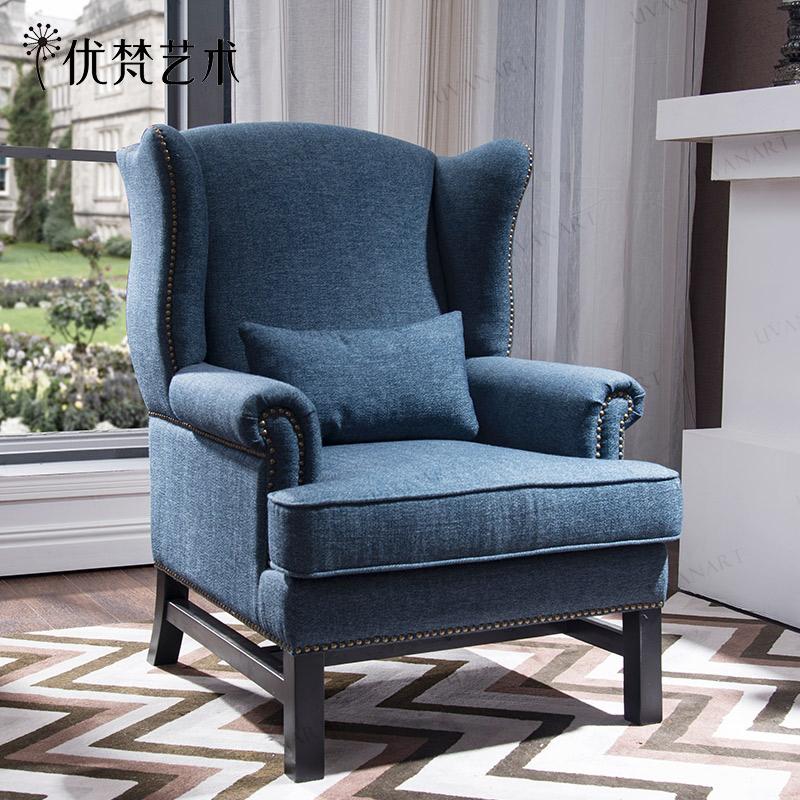 优梵艺术LUX美式单人布艺沙发椅卧室扶手高靠背老虎凳子休闲家具
