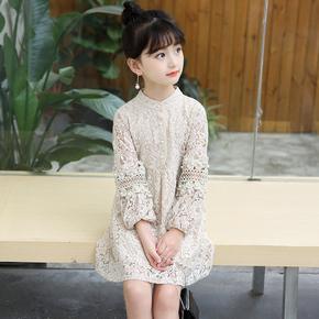女童长袖连衣裙蕾丝拼接连衣裙