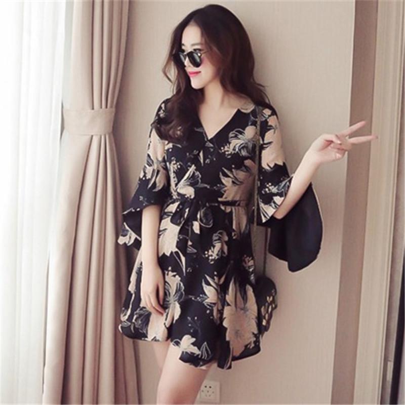 时尚喇叭袖气质修身短裙棉麻印花连衣裙