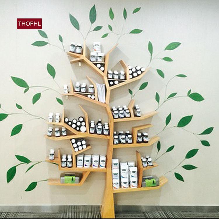 千健创意书架 实木书架 书柜收纳架置物架 简易书架 树型书架