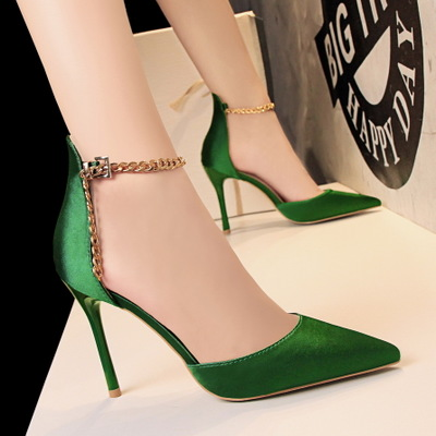 5199-1 in Europe and the us show thin thin and sexy high-heeled silk light mouth hollow-out pointed metal chain one word