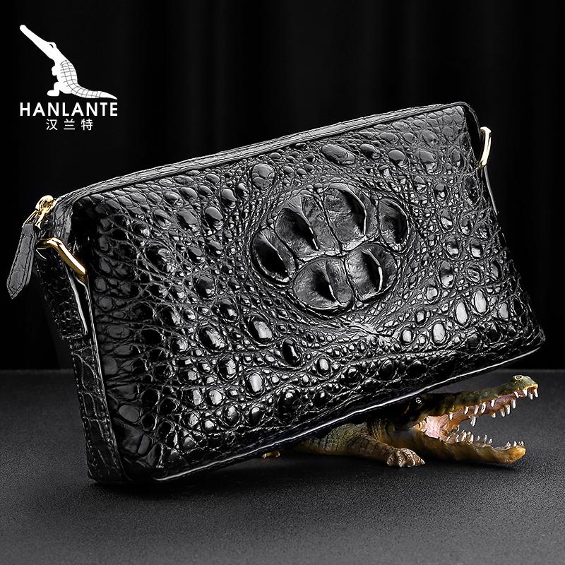 汉兰特泰国鳄鱼皮手包男真皮正品潮手抓手拿包大容量商务手工皮包