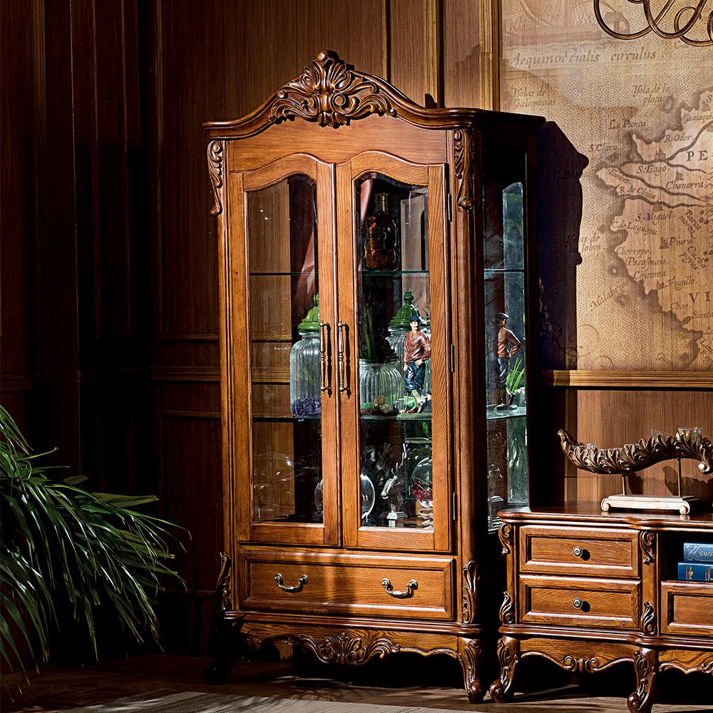 温迪居品美式纯实木雕花双门玻璃酒柜WD-21316