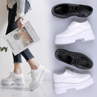 新款粗跟单鞋女圆头厚底松糕鞋漆皮高跟英伦小皮鞋学生曾高小白鞋