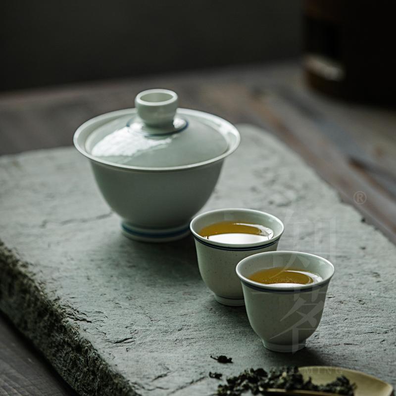 知茗复古盖碗杯组草木灰釉玄纹