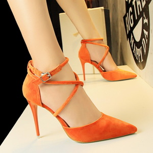 1627-4 han edition fashion sexy nightclub show thin fine with high heels suede shallow mouth pointed hollow cross with s