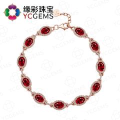 YCGEMS/缘彩珠宝5克拉红宝石手链 18K金镶钻石宝石 国检证书