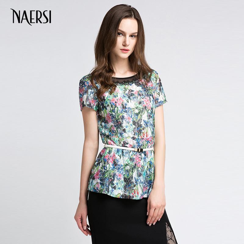 NAERSI-娜尔思新品女款短袖针织收腰圆领雪纺套头上衣