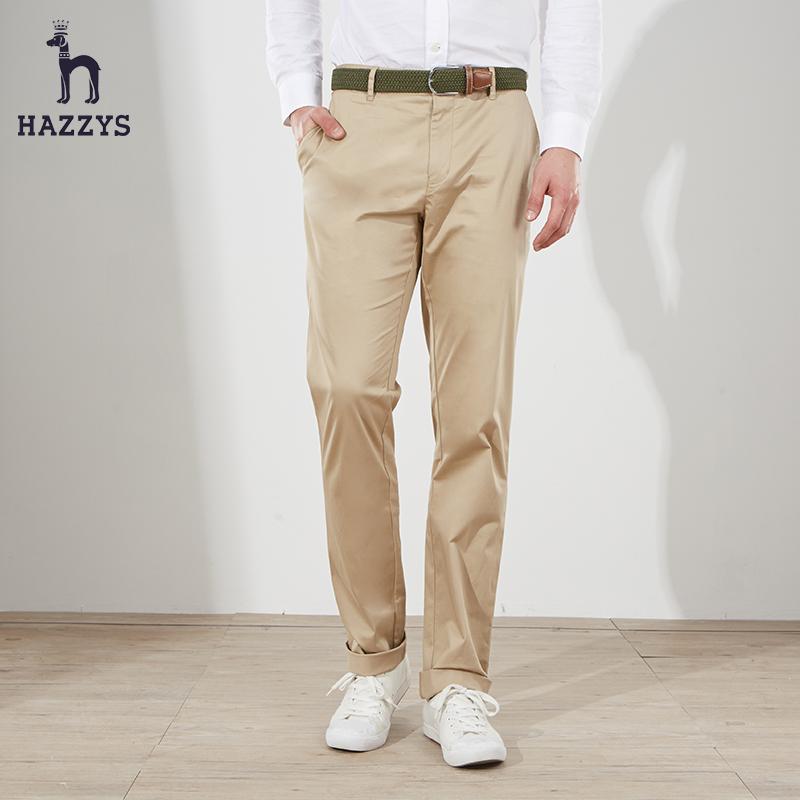 Hazzys哈吉斯春夏休闲裤男修身夏季男裤子直筒裤潮流显瘦男士长裤