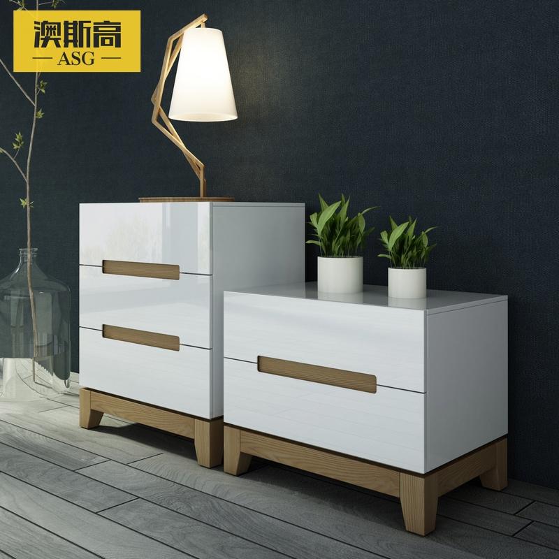 澳斯高水曲柳实木白色烤漆储物柜KDG-8200