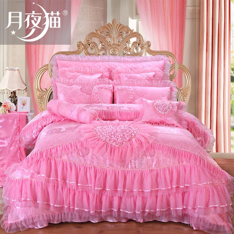 月夜猫婚庆韩式公主风刺绣婚庆套件-1