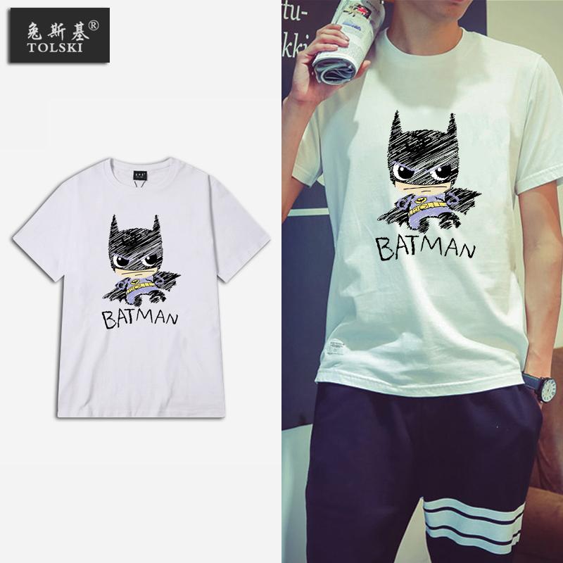 日系韩版卡通印花小清新蝙蝠侠圆领t恤
