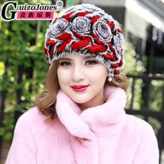 冬季獭兔毛针织弹性帽 皮草帽子女冬季中老年保暖 妈妈花朵帽