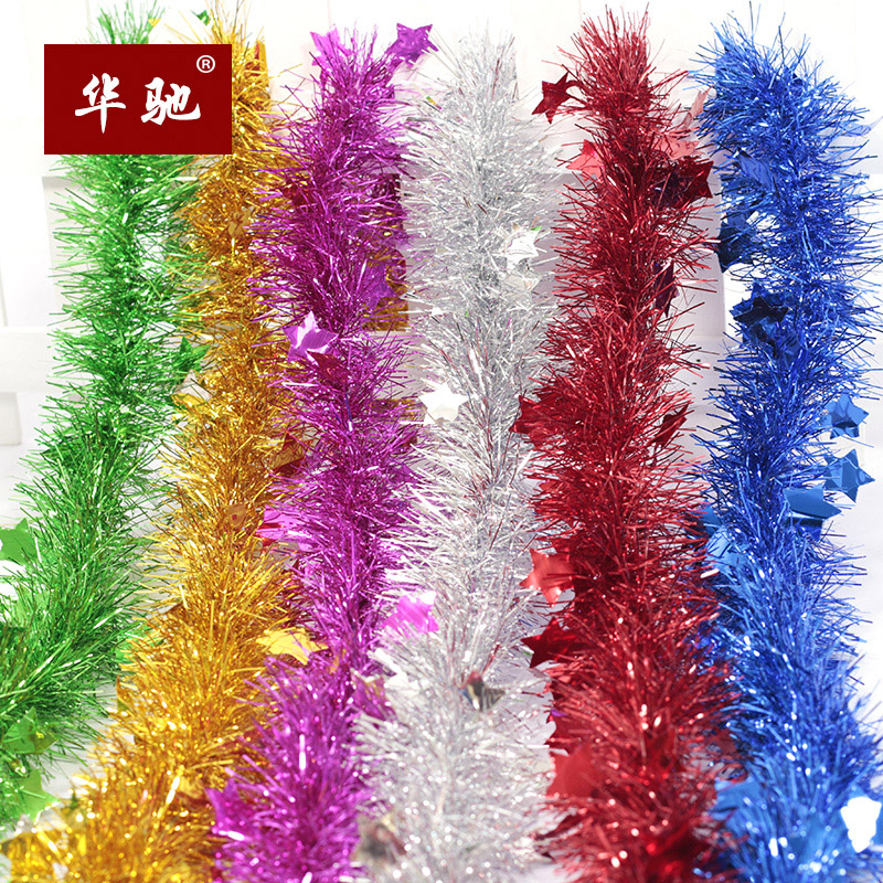 Huachi Christmas decorations 200 * 10cm five-pointed star star color Christmas tree festival tops pull flowers