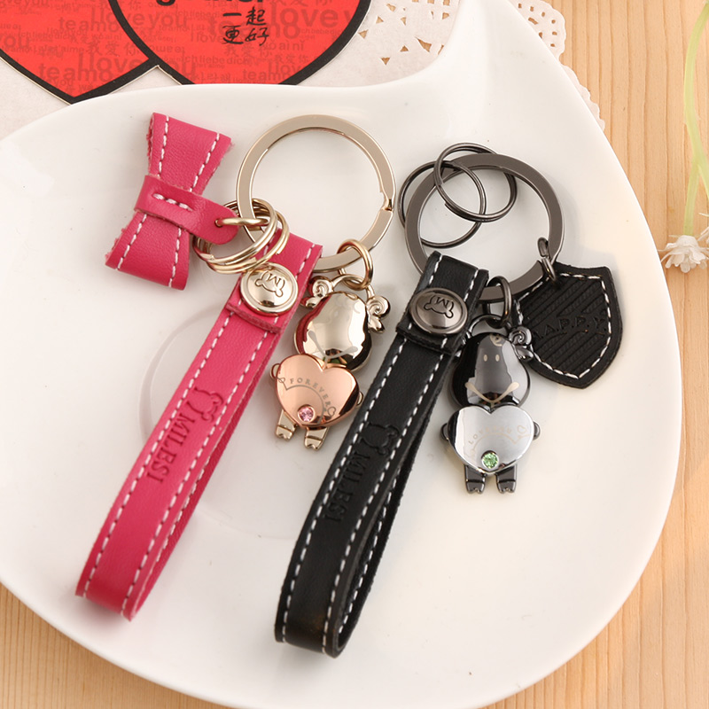 Milesi Lamb couple keychain men and women Key Chain creative Korean version of the car key chain pendant remote key ring