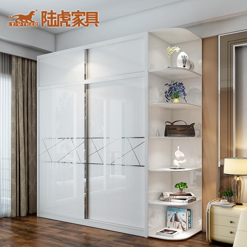 陆虎现代简约烤漆白色推拉门双门衣柜LH-T1