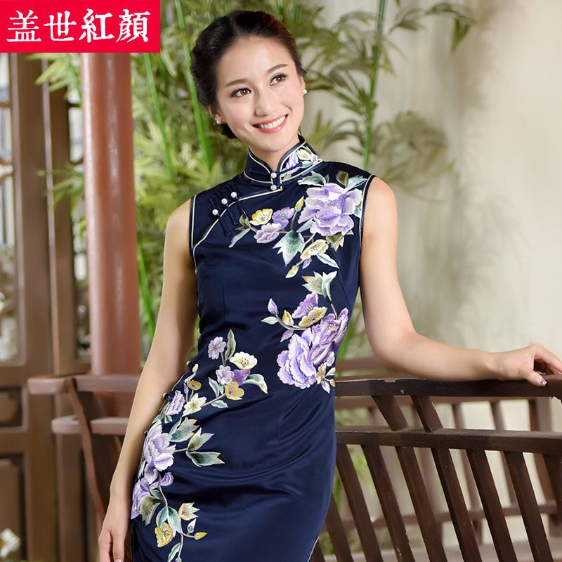 盖世红颜真丝绣花旗袍秋新款手工刺绣老上海旗袍裙中式礼服