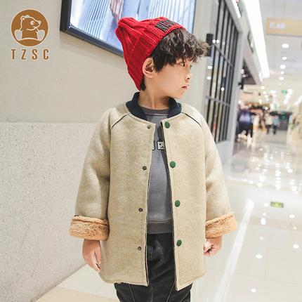 秋冬男童韩版潮流毛呢加绒外套