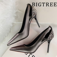 9216-3 European and American wind contracted fine with high heels show thin shallow mouth pointed sequins color matching club sexy hollow out shoes