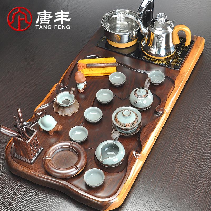 唐丰功夫自动茶具整块黑檀实木茶盘套装整套四合一电热炉TF4282