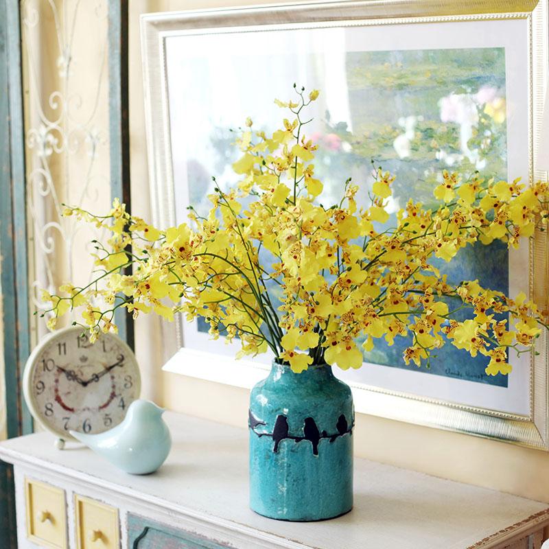提亮客厅色彩!跳舞兰仿真花束摆件客厅装饰盆栽设花瓶抖音假花艺