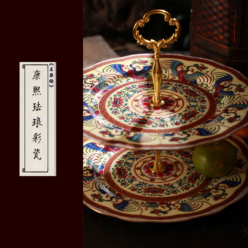 Jingdezhen European hand paint double cake plate of fruit creative compote snack