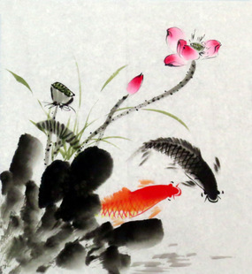 纯手绘客厅国画字画善义三尺斗方水墨写意荷花鱼原稿yt5-9-4-54