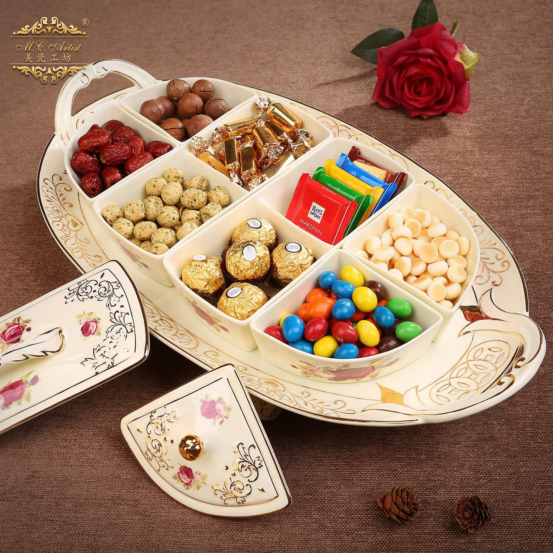 美瓷工坊欧式干果盘陶瓷分格带盖糖果零食盒客厅水果盘茶壶茶杯组