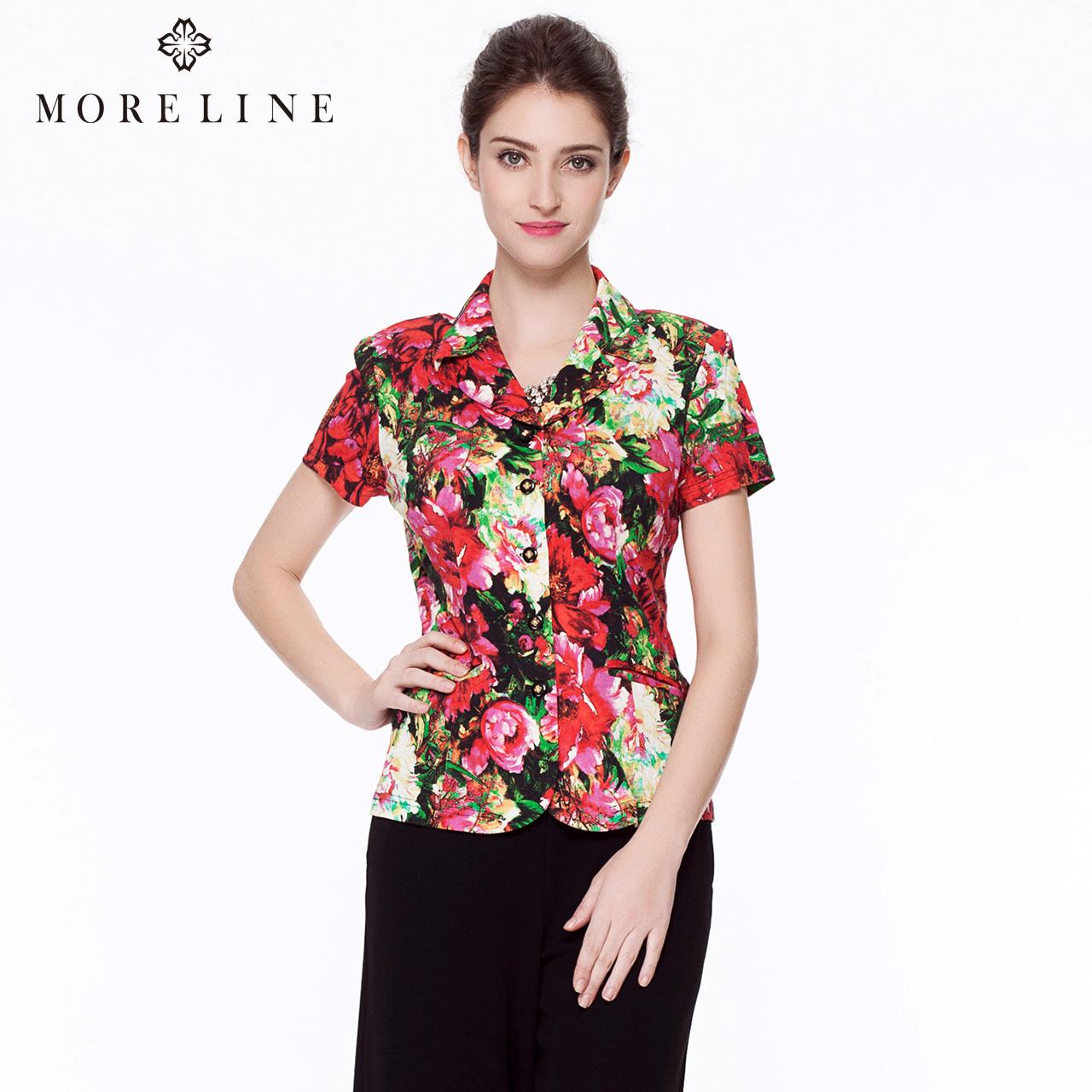 MORELINE沐兰夏季新款修身显瘦短袖上衣水彩印花衬衫女7231512