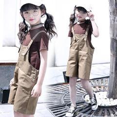 夏季,女孩子,大童,韩版,短袖,T恤,背带,裤子,两件套,咖啡色,120cm