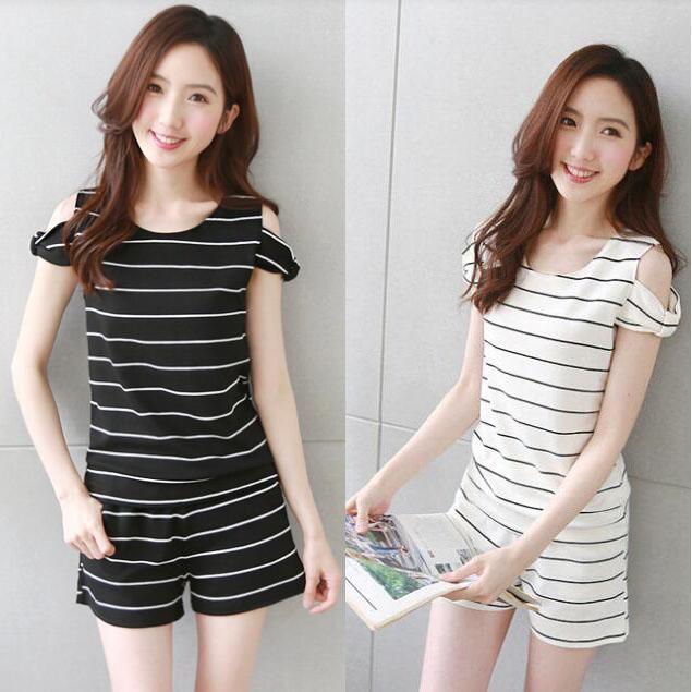 韩国 2017新款夏装 女 条纹 休闲  纯棉 运动套装