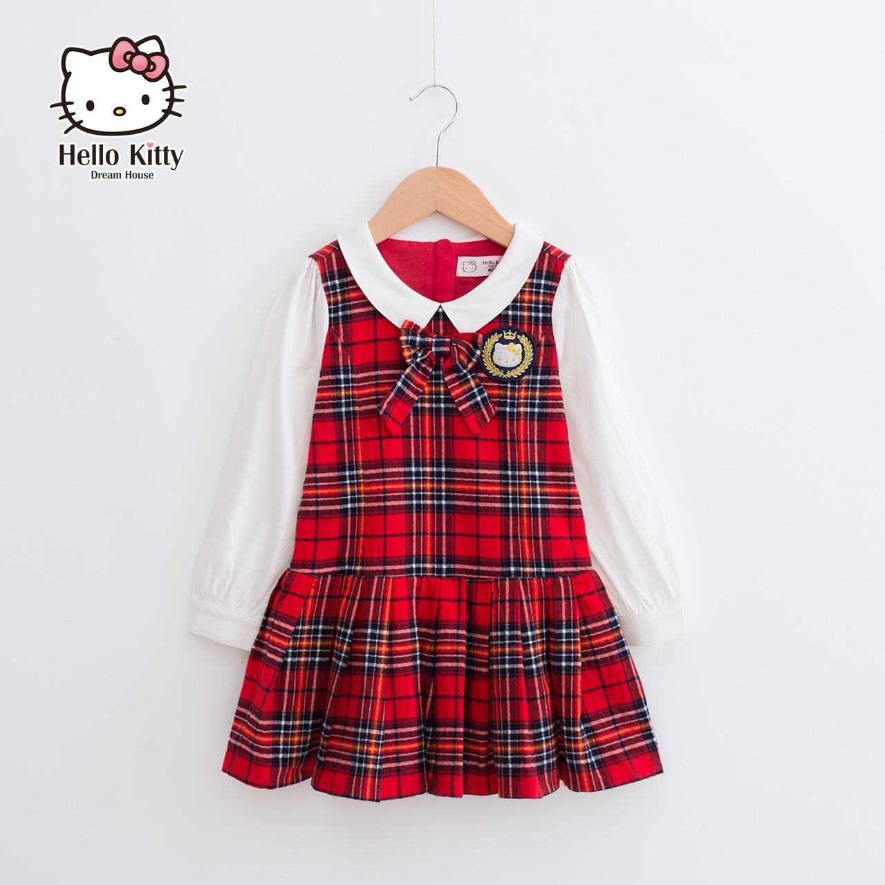 HelloKitty童装2018新款秋装公主宝宝女童连衣裙儿童小女孩格子裙