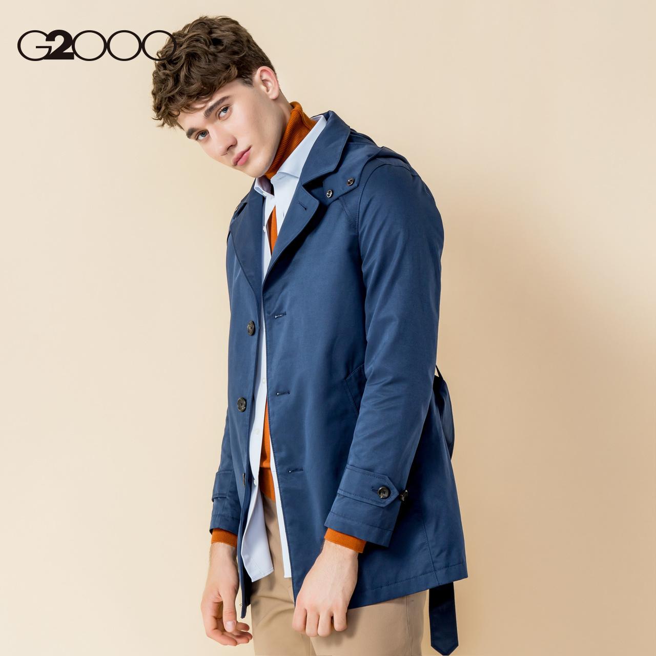 G2000潮流休闲风衣男中长款 秋冬青年单排扣束腰薄款男士大衣