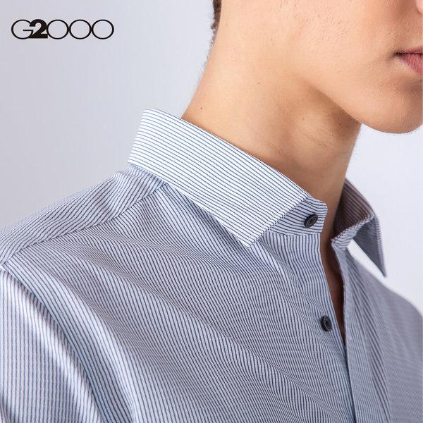 G2000新款竖条纹长袖衬衫男 青年正装修身翻领男式衬衣