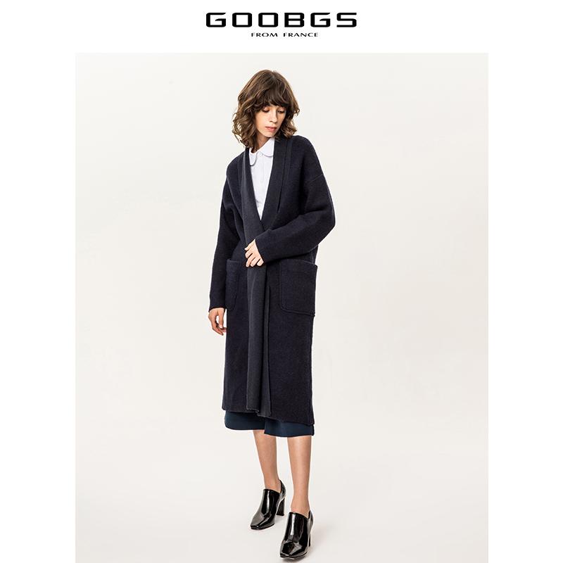 谷邦冬季新款毛衫纯色韩版休闲中长款针织开衫外套女