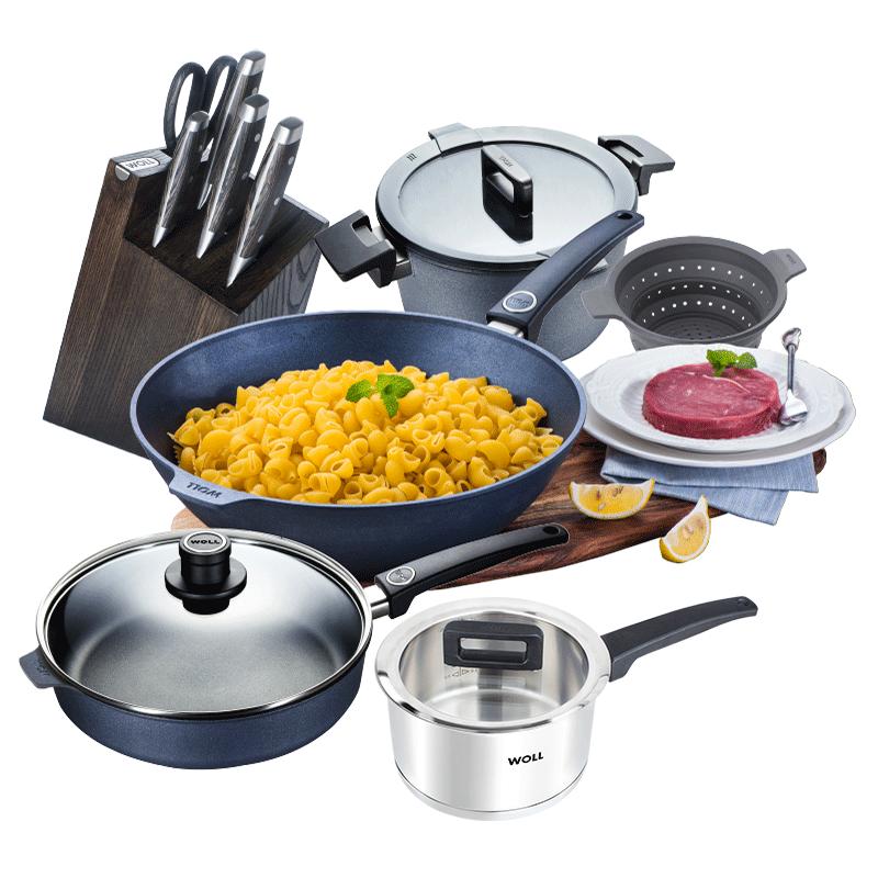 WOLL德国进口厨具钻石系列不沾炒锅不粘锅套装家用锅具组合