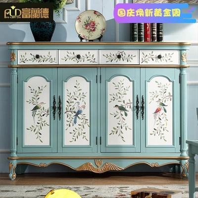 富兰德美式乡村四门鞋柜木质复古双三门欧式玄关柜地中海彩绘鞋柜