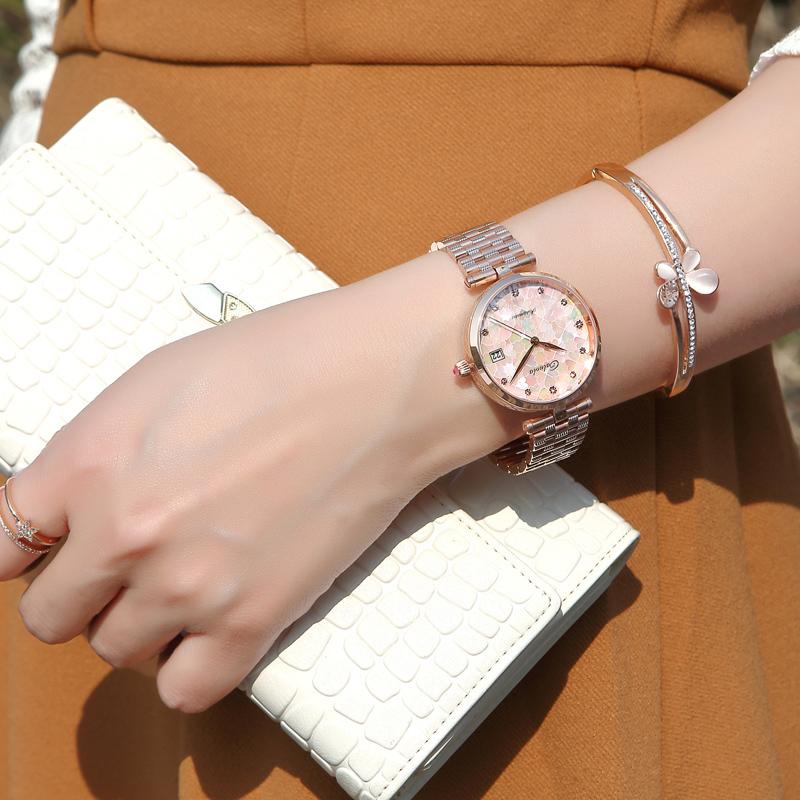 2018新款正品卡罗莱钢带女表机械表全自动时尚潮流女士真皮带手表