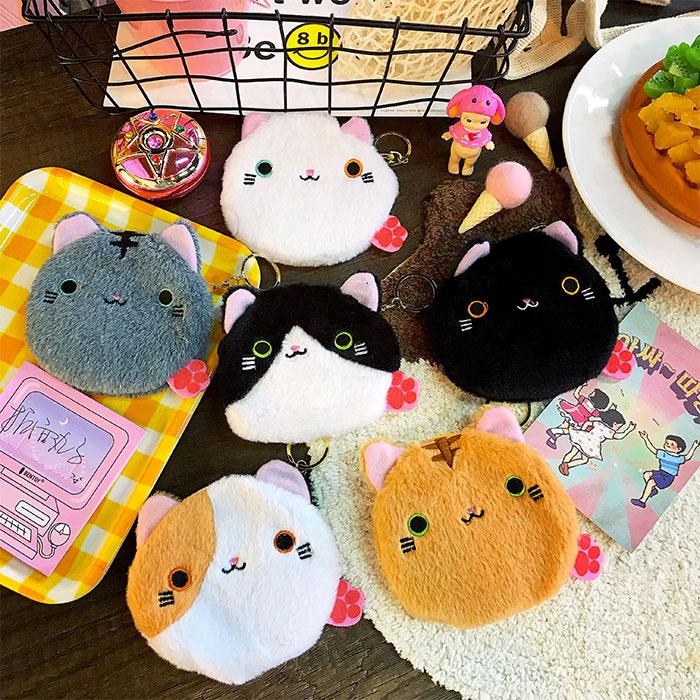 日系可爱卡通小猫咪原宿毛绒学生小钱包收纳迷你便携硬币包零钱包
