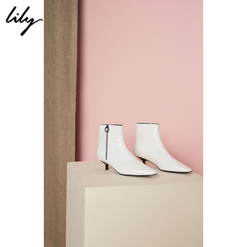 Lily2018秋新款女装时髦黑白尖头小猫跟拉链踝靴118330JZ407