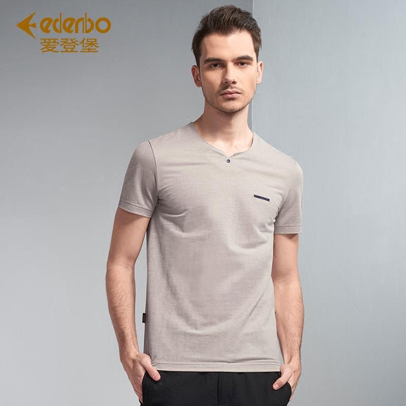 Edenbo-爱登堡男装短袖T恤男夏季新款V领t恤男上衣时尚打底体恤衫